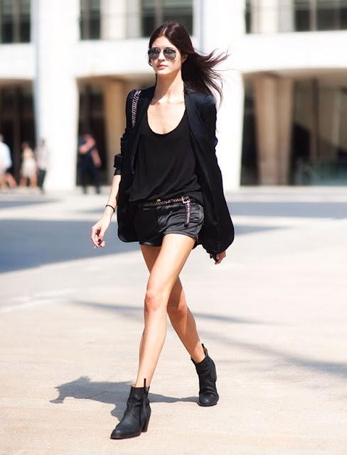 暑い日の秋コーデ[5] オールブラック☆ 着丈長めのゆるいボーイフレンドジャケットが素敵♪