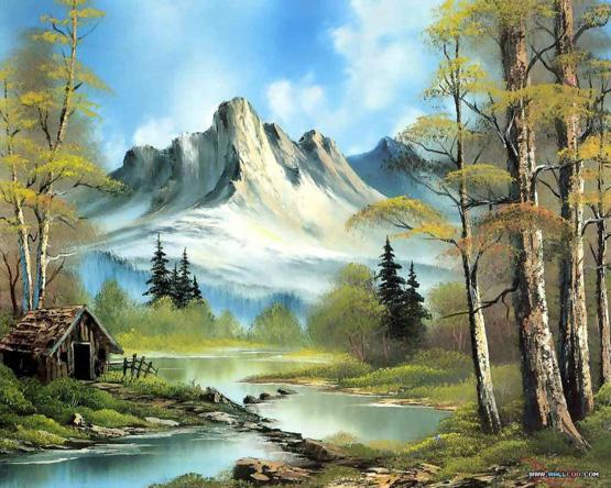 منظر طبيعي بالألوان الزيتية