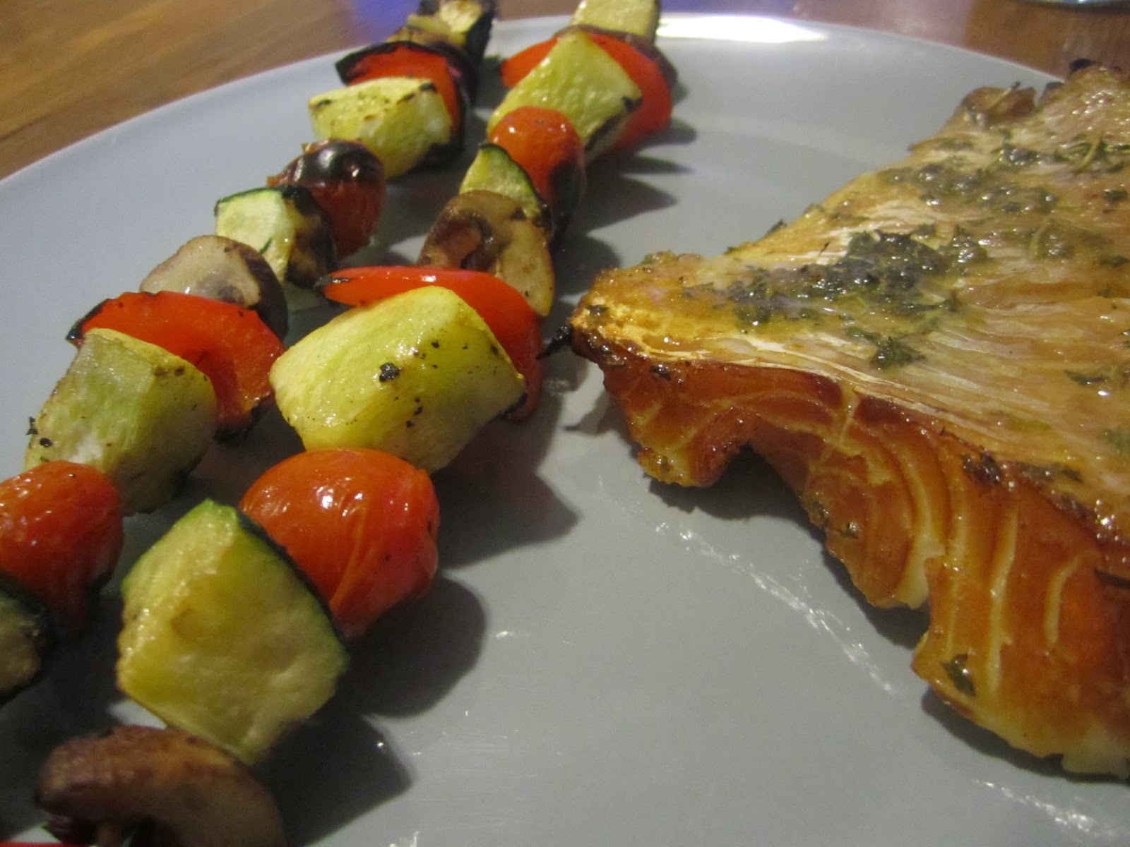 Grilled cod (with a delicious marinade my husband made) and grilled ...