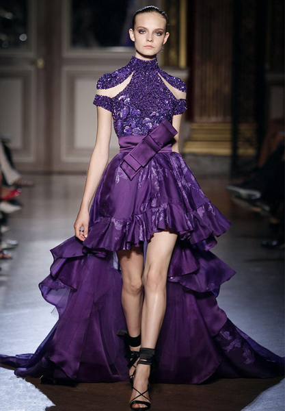 purple high low wedding dress