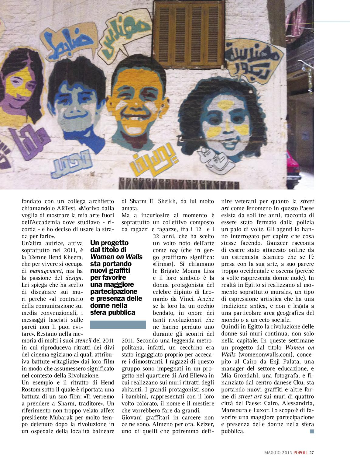 """L'emancipazione al muro"", my new story about graffiti in Cairo (on Popoli magazine)"