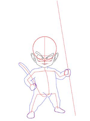 cara menggambar Goku kecil tahap 9