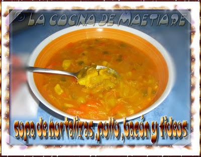 Sopa de hortalizas, pollo, bacón y fideos  CIMG2197