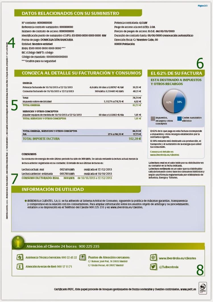 Modelo factura de luz Iberdrola página 2