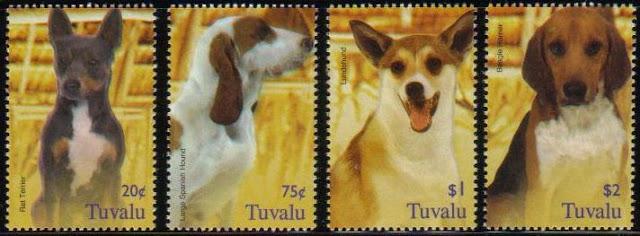 年度不明ツバル ラット・テリア、ラージ・スパニッシュ・ハウンド、ルンデ、ビーグル・ハリアーの切手