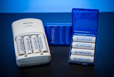 Sanyo eneloop rechargeable batteries, charger and case.