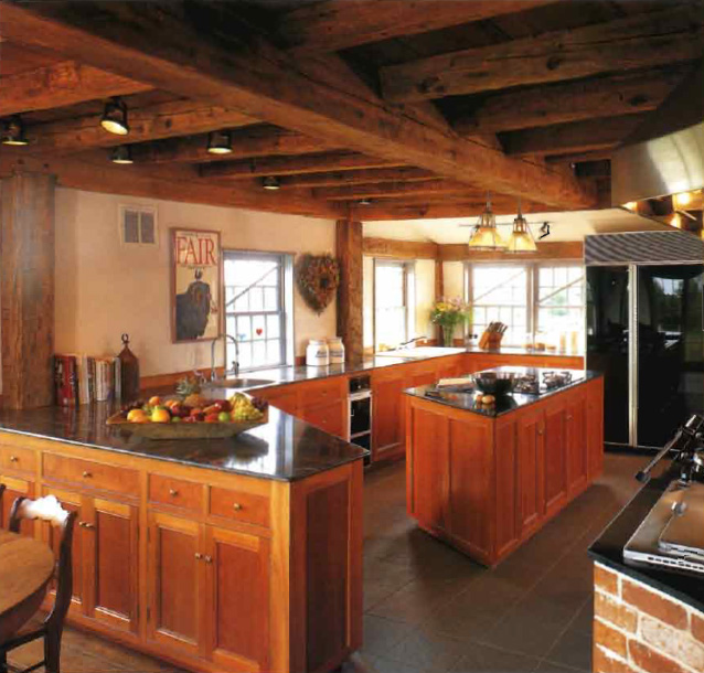 THE GRANITE COUNTERTOPS AT LEFT AND ONTHE ISLAND HAVE Thin, Eased Nosings  And A High Gloss Finish, But They Still Look At Home With Rough Hewn Posts  And ...