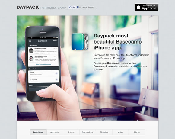 Daypack iphone app website