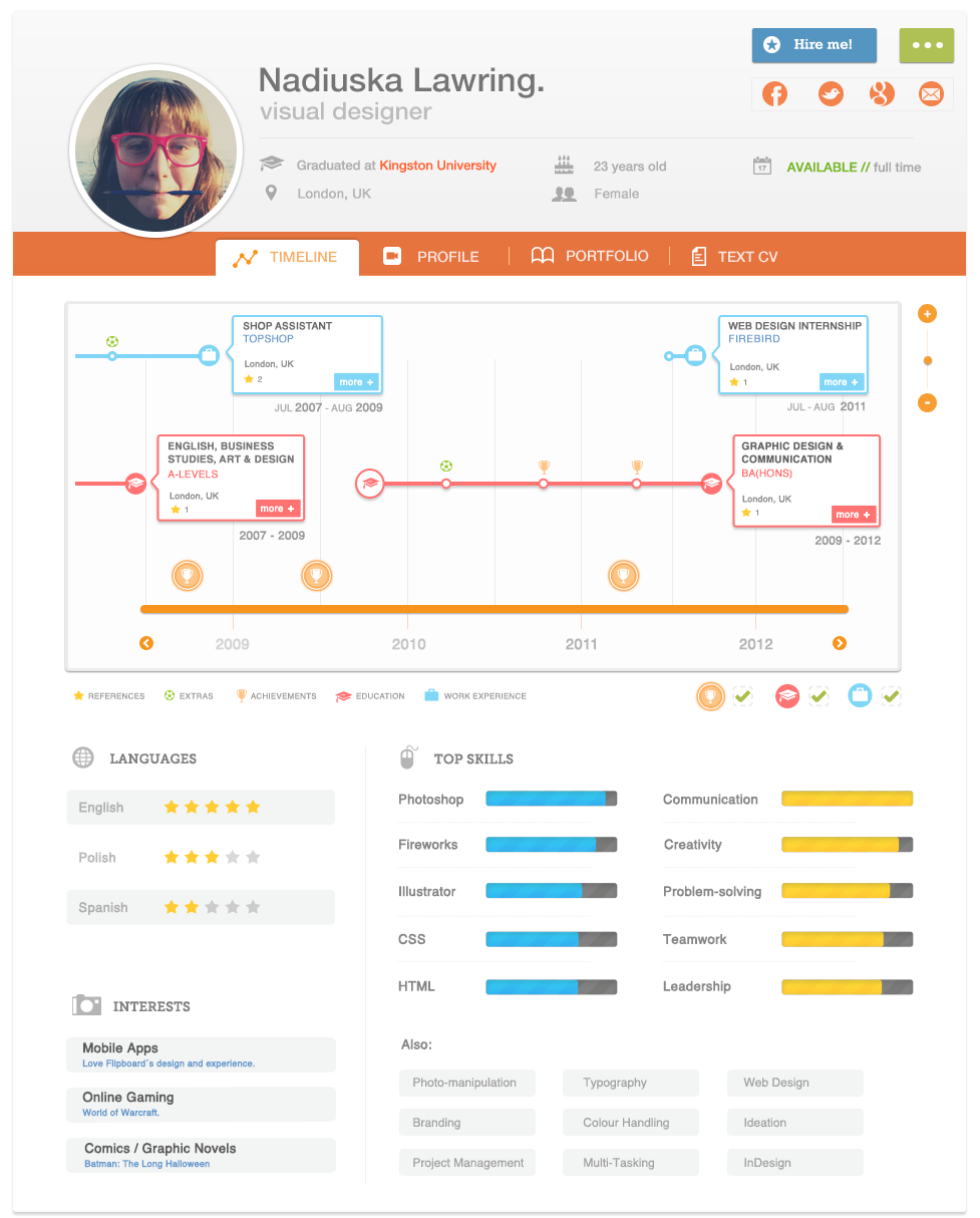 Online Resume Infographic Epik CV, currently online as a demo, allows you to create the ultimate online CV/resume. It's a beautifully designed piece of visualisation and we look ...