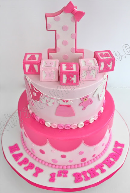 Pictures Of Birthday Cakes For Baby Girl : Celebrate with Cake!: 1st Birthday Baby Girl Tier Cake