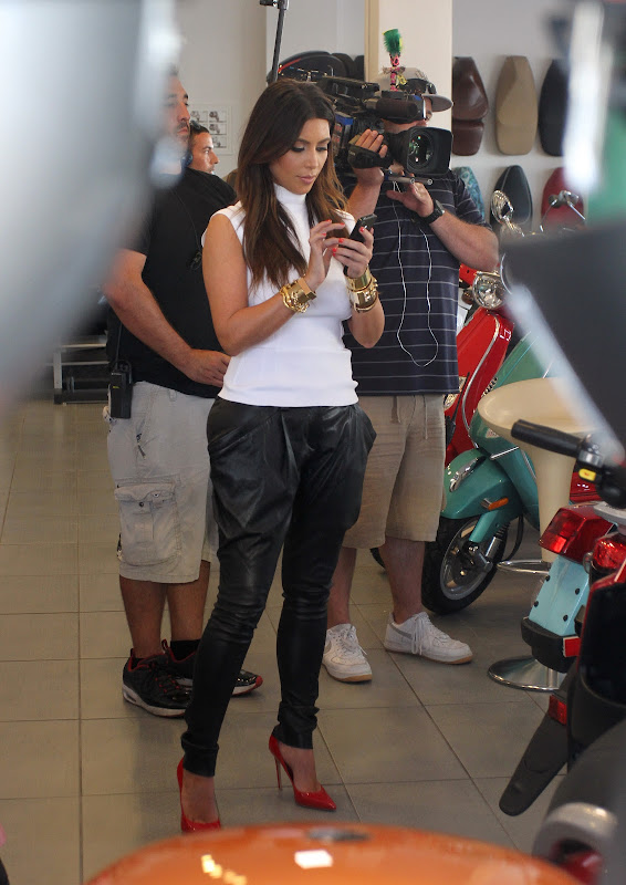 Kim Kardashian at a Motorcycle Store in Miami Beach
