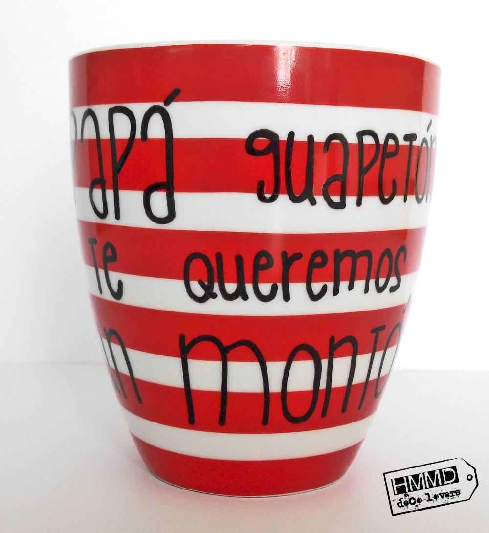 Tazas con frases día del padre, personalizada o dedicada, papá guapetón, papá héroe HMMD Handmademaniadecor. Mugs with phrases father´s day, customized mugs