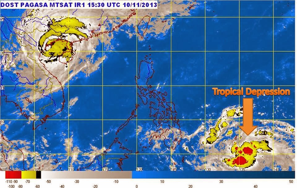 new Tropical Depression east of Mindanao