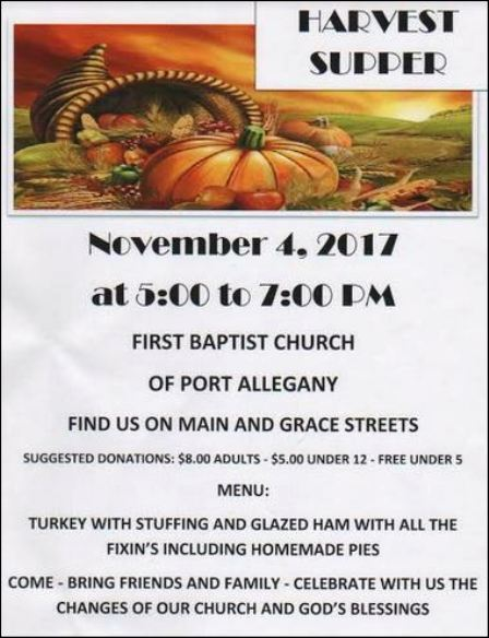 11-4 Harvest Supper, Port Allegany