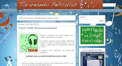Tarareando Películas, Blog de Música del colegio Miguel Medina con partituras para flauta, musicogramas, canciones y recursos para Educación Musical en Primaria.