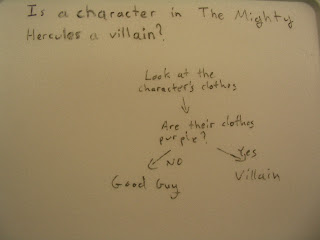 Is a character in The Mighty Hercules a villain?  If they're wearing purple, then they're a villain.  Else, they're a good guy.