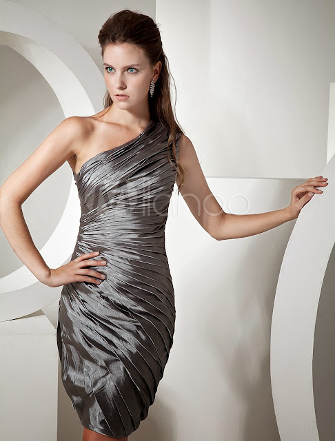 China Wholesale Clothes - Silver One-shoulder Knee Length Womens Bridesmaid Dress