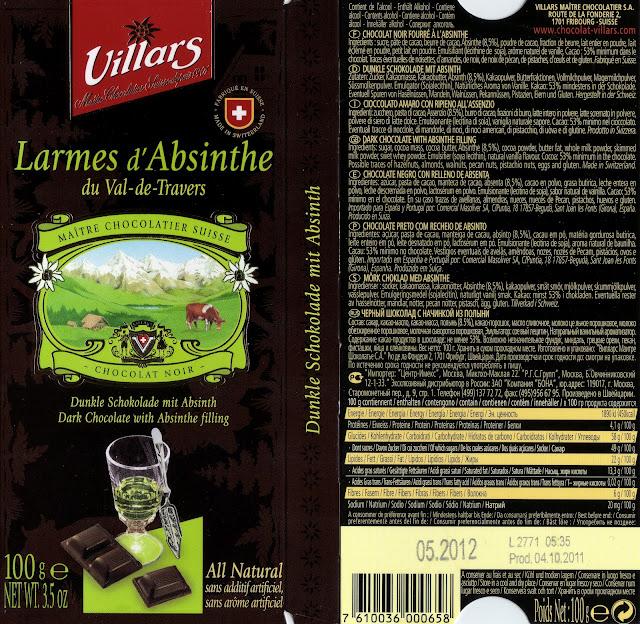 tablette de chocolat noir fourré villars noir larmes d'absinthe