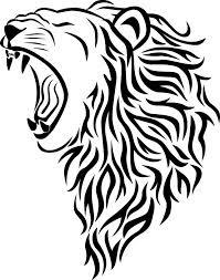 Motif Tato Singa Hitam Putih 6