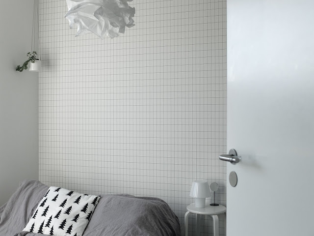 Ferm Living, Grid wallpaper, tapet, rutig tapet,