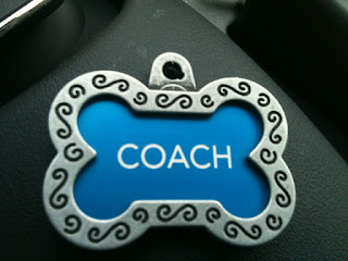 Photo of Coach's dog tag saying Coach.