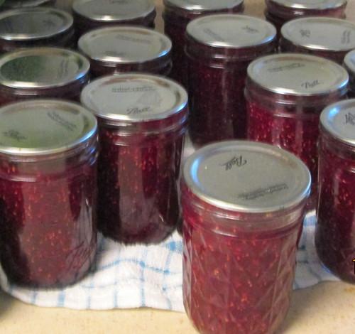 jars of rasberry jam