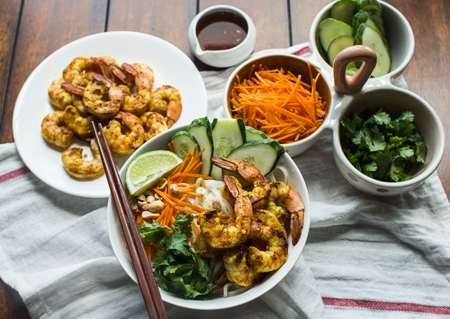 Vietnamese BBQ Shrimp Noodle Bowl recipe by MJ & Hungryman