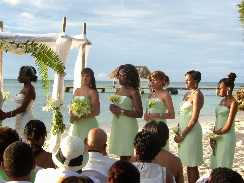 bridesmaids at beach wedding