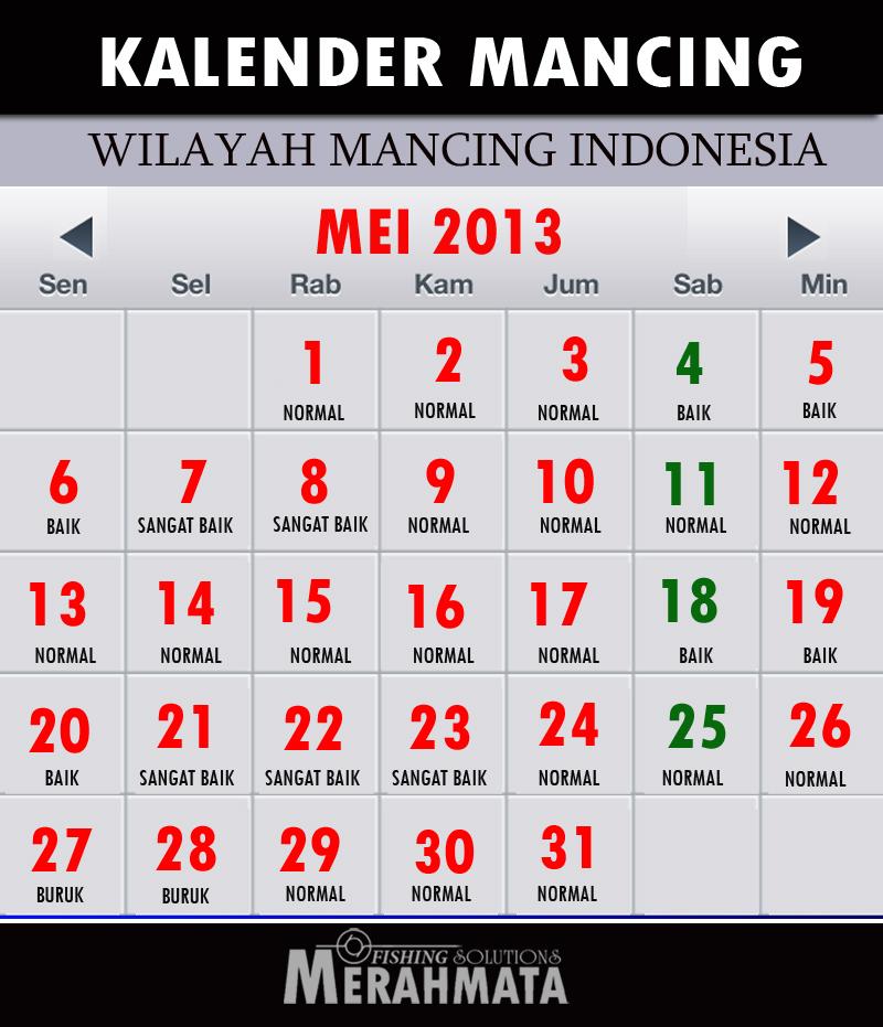 Kalender Jadwal Mancing bulan MEI 2013