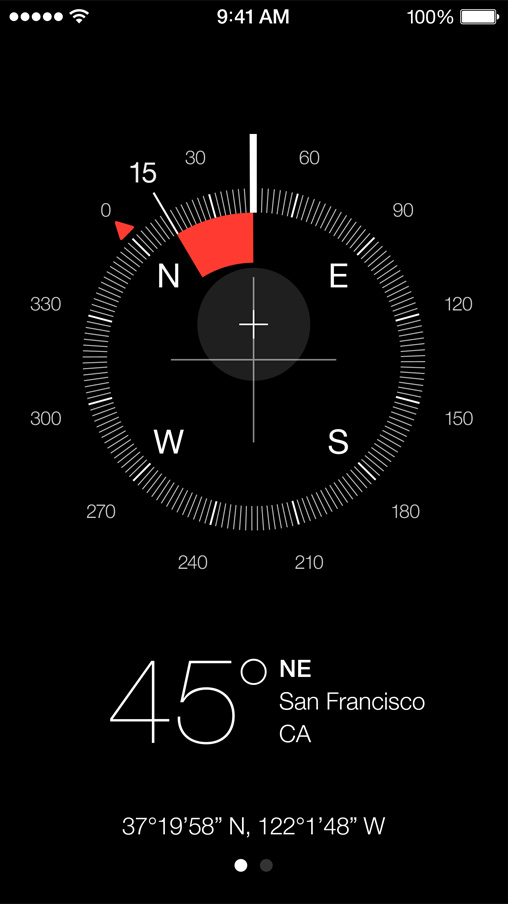 iOS 7 Compass, Calculator, Clock