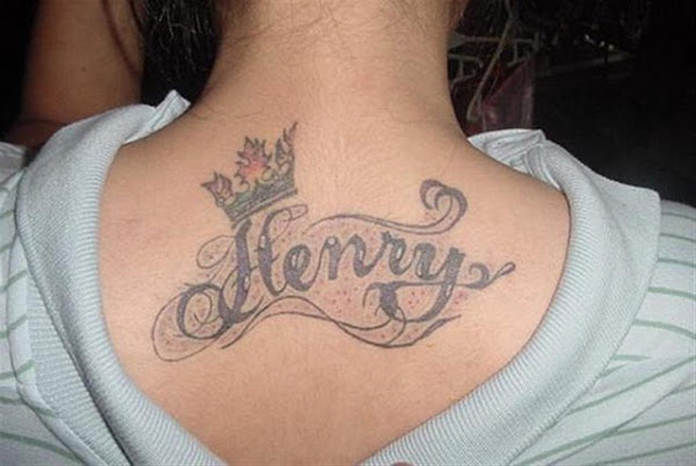 Back neck name Tattoo