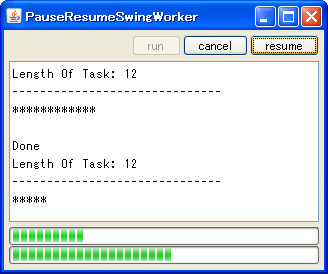 java swing tips pause and resume swingworker