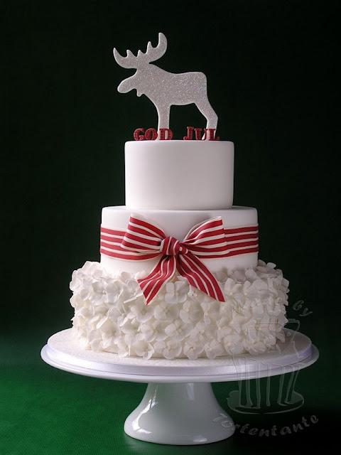 christmas cake fondant moose elk bow