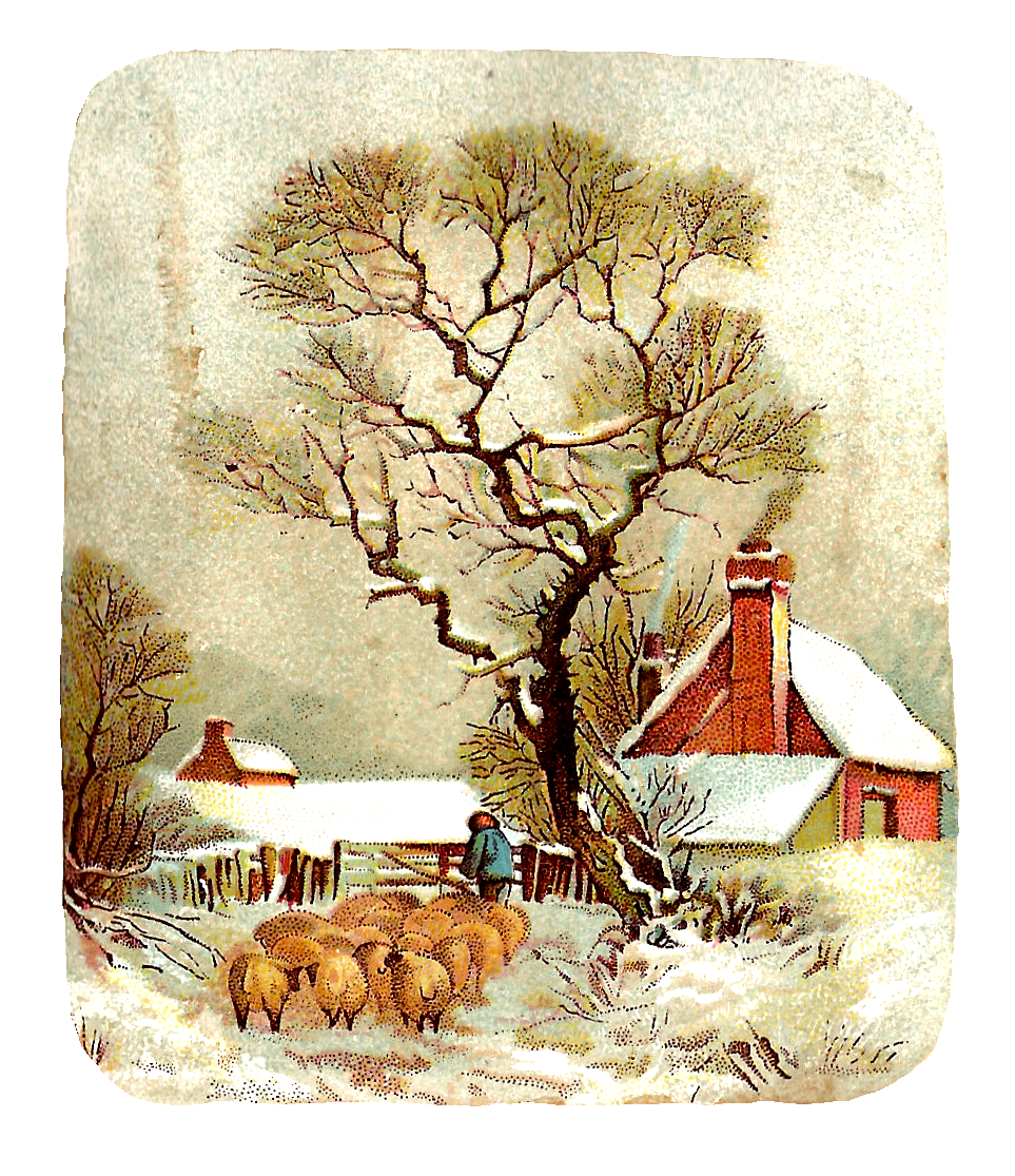 ... Free Winter Clip Art: Winter Graphic with Shepherd and Sheep in Snow
