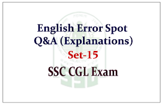 English Questions (Error Spot) with Explanations for SSC-CGL Exam