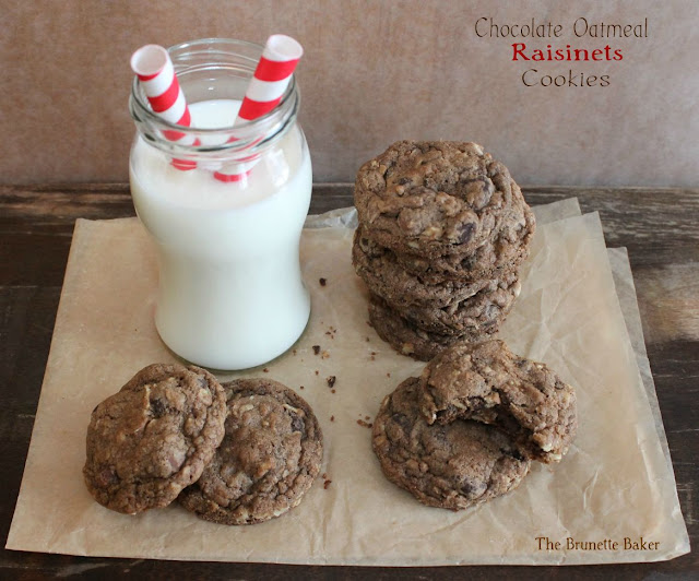 Chocolate Oatmeal Raisinets Cookies | The Brunette Baker