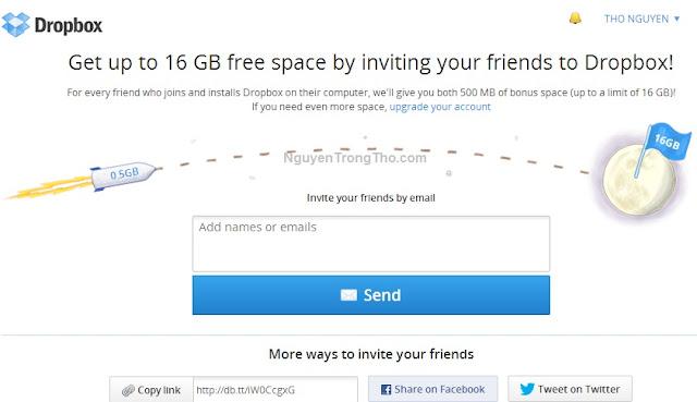 thêm dung lượng miễn phí trên Dropbox