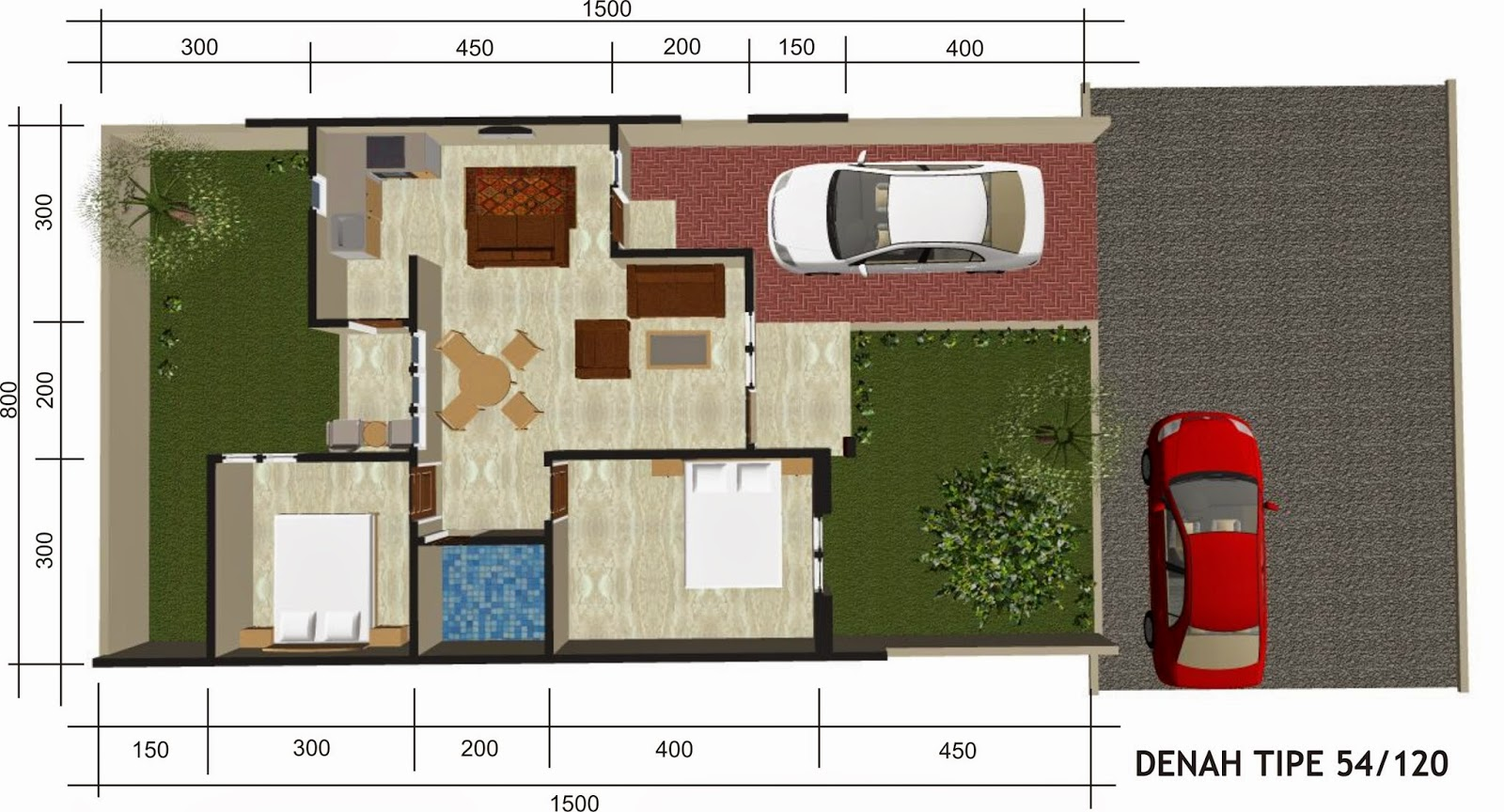 Denah Rumah Minimalis 1 Lantai Type 54 Desain Rumah Minimalis