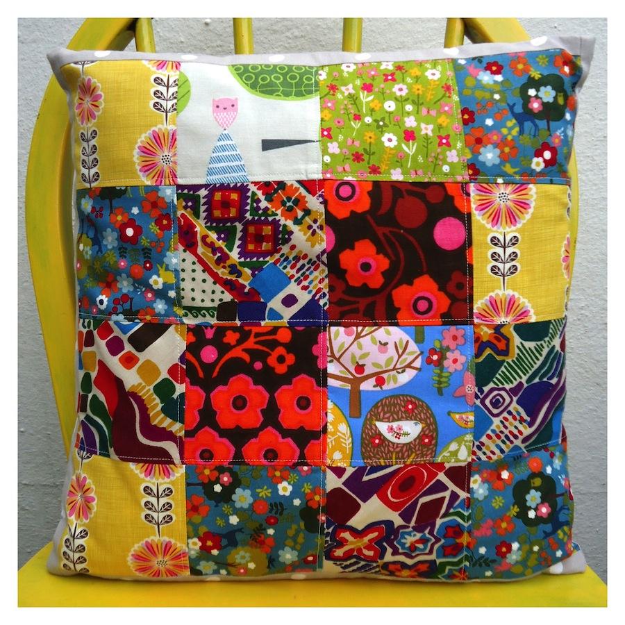 Ivy Arch patchwork cushion