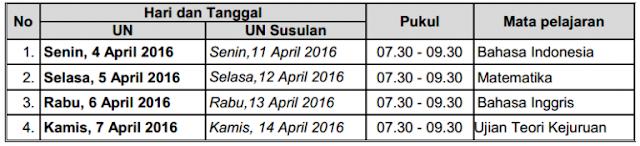 jadwal UN/UNBK untuk Siswa SMK/MAK