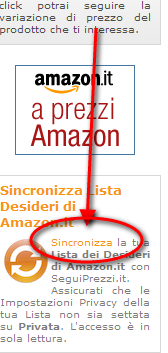 Seguiprezzi: sincronizza wishlist di amazon