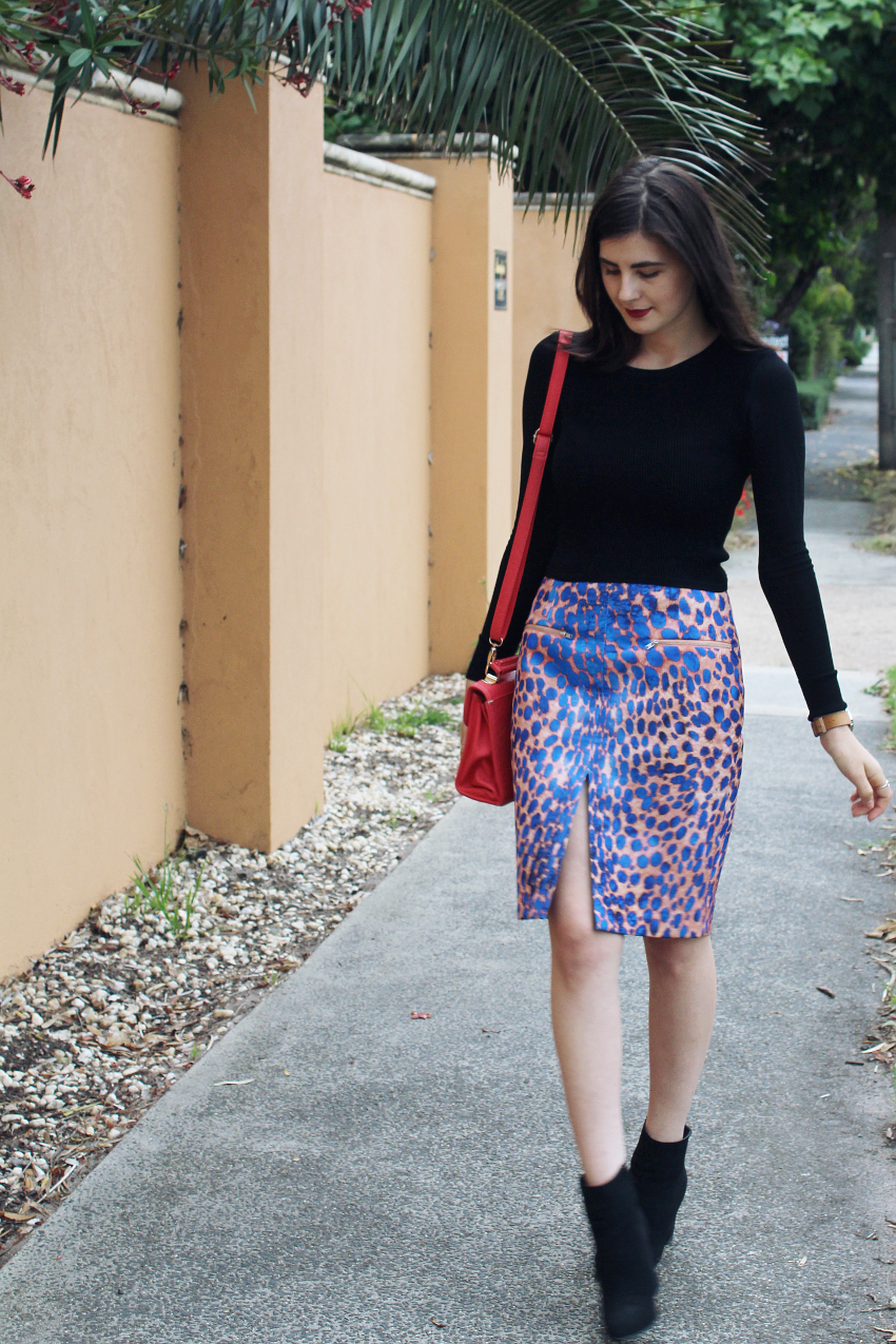 like a harte, likeaharte, australian bloggers, australian fashion bloggers, fashion bloggers, cameo the label, the recovery skirt, ivana, ivana petrovic, how to wear a colorful skirt, colorful skirts, leopard print skirt, ankle boots, winter outfits,
