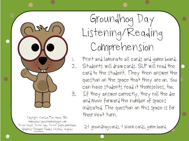 Groundhog Day ListeningReading Comprehension – Groundhog Day Reading Comprehension Worksheet