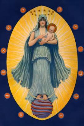 Virgen Celestial con el Dios Sol en sus Brazos