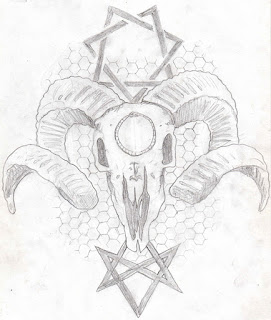 goat skull, tattoo, Menace, seven pointed star