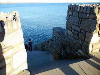Walking on the Cliff Walk in Newport, RI