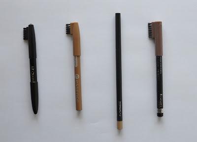 a delightful gazette eyebrow pencils comparison lancome essence mac rimmel. Black Bedroom Furniture Sets. Home Design Ideas