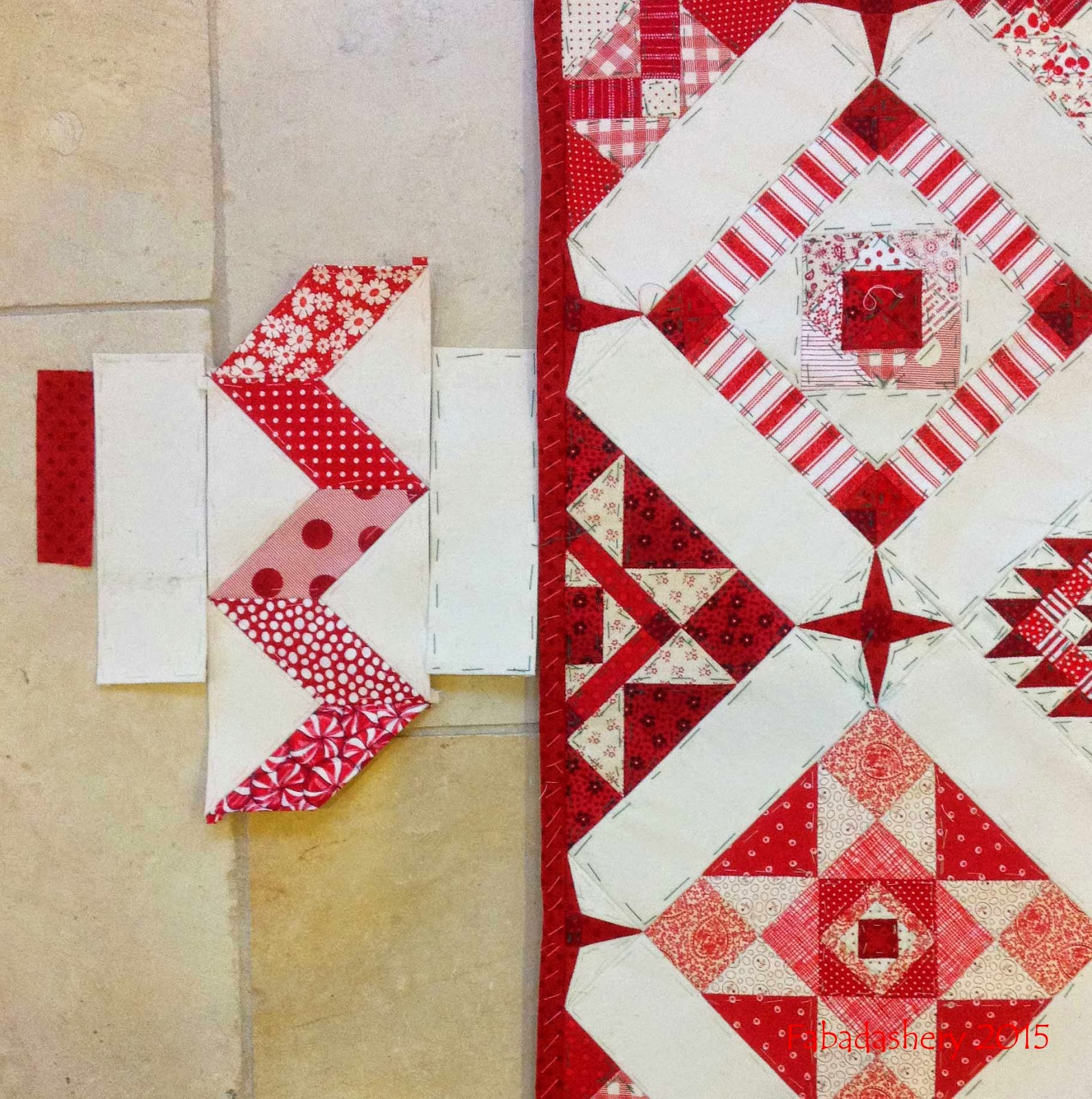 Nearly Insane Quilt - Red with White Zig Zag Border