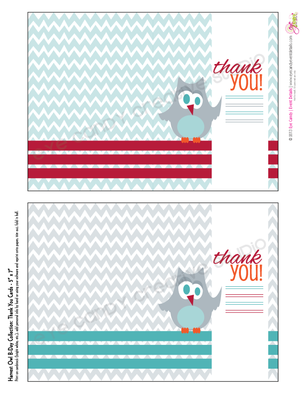 thank you notes for owl birthday, owl party notes, chevron design