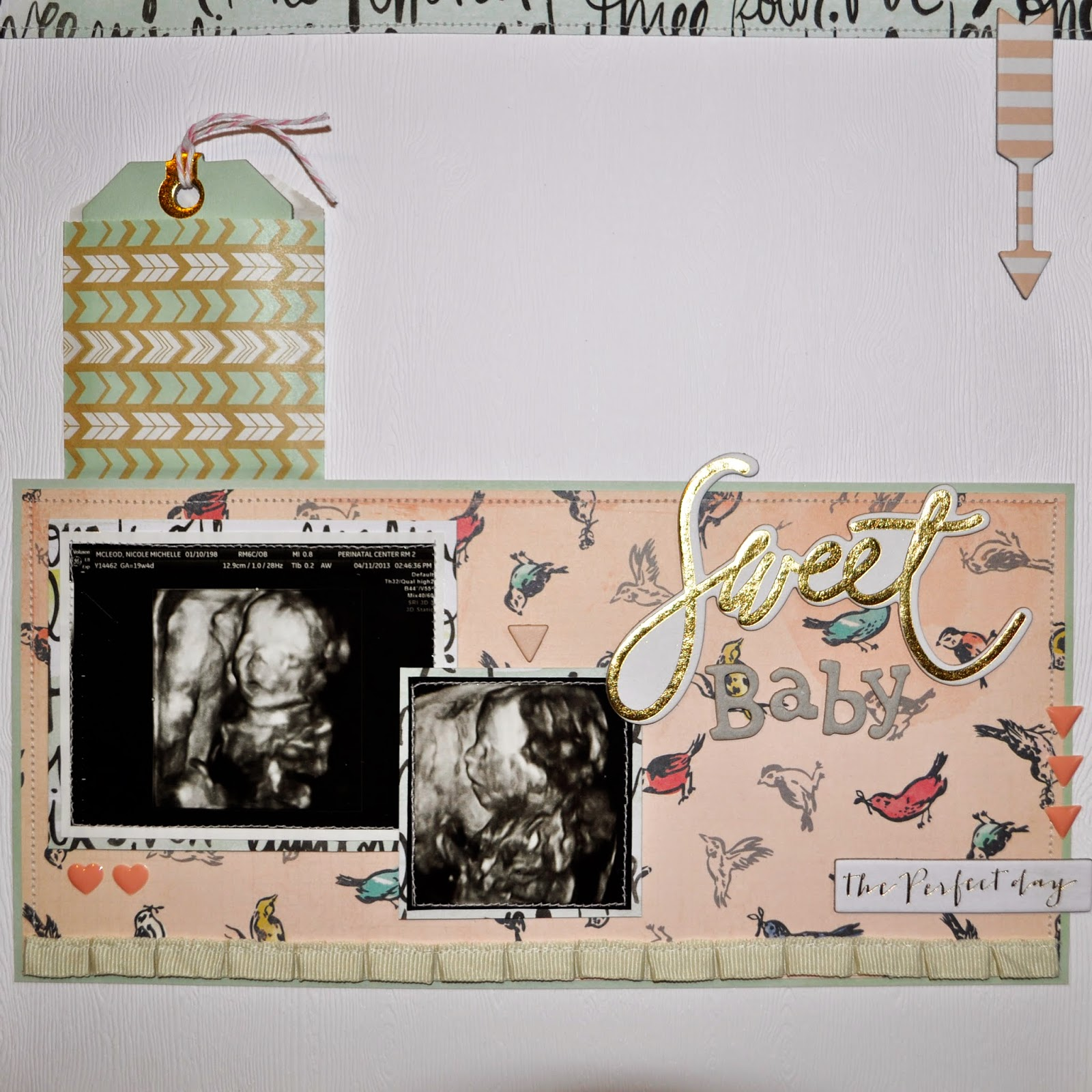 12x12 scrapbook page pregnancy maternity photos ultrasound 3D 2D pink teal blue birds sweet baby girl boy machine stitching sew sewing ribbon ivory white woodgrain
